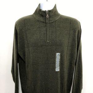NEW Dockers Green 1/4 Zip Sweater Men's Large